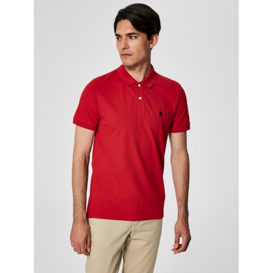Selected - Polo rouge broderie marine