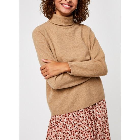 Selected Femme - Pull beige à col roulé