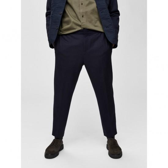 Selected homme - Pantalon court ajusté marine
