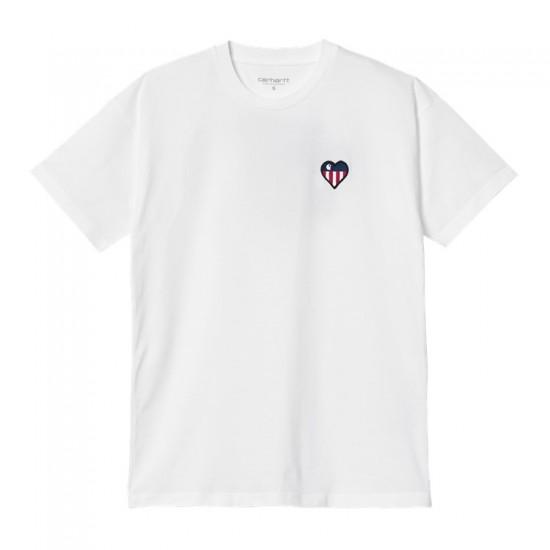 Carhartt WIP - Tshirt blanc broderie coeur