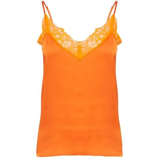 Ichi - Top orange à dentelles
