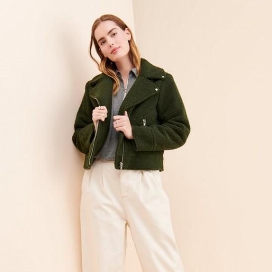 Ichi - Manteau mouton vert