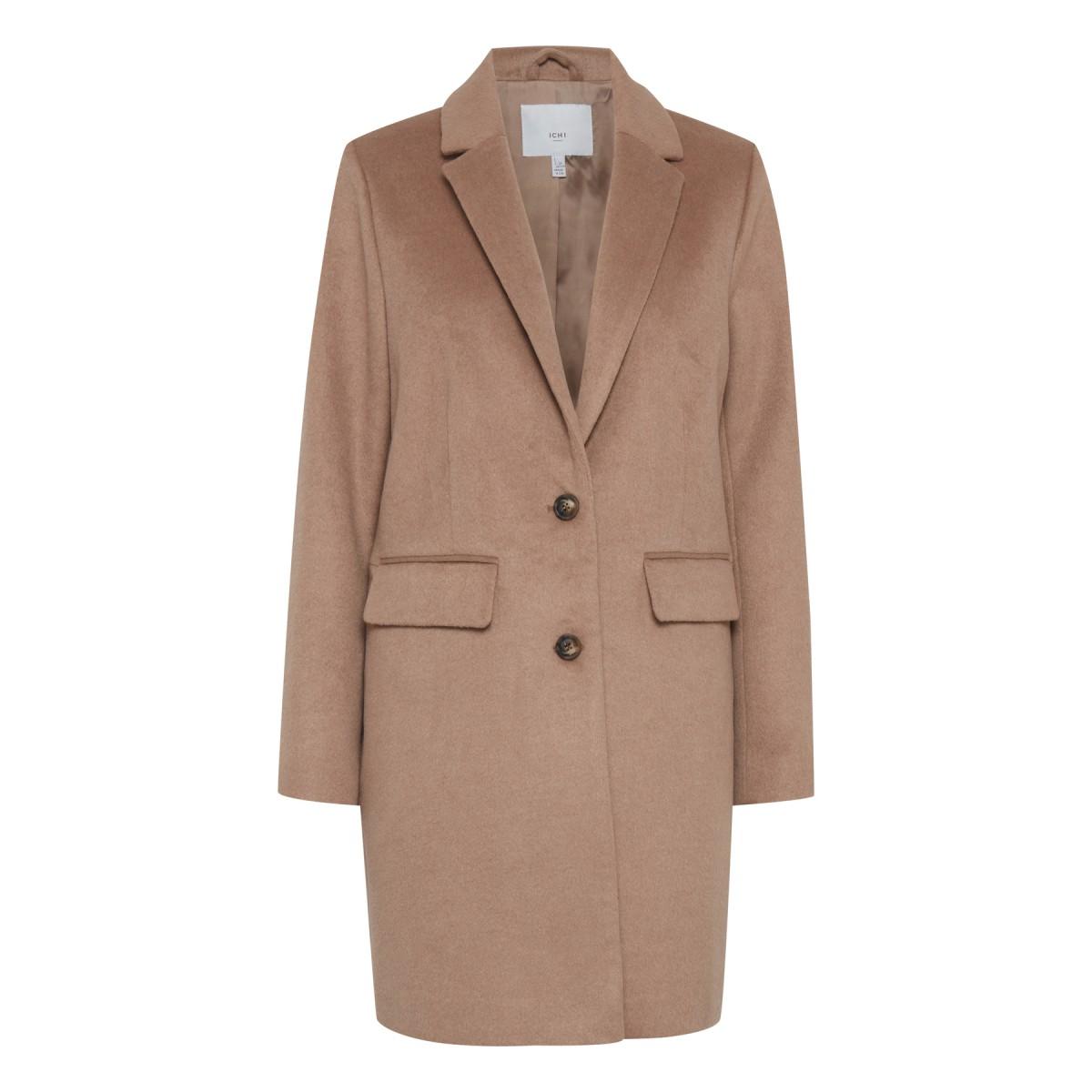 Ichi - Manteau camel femme