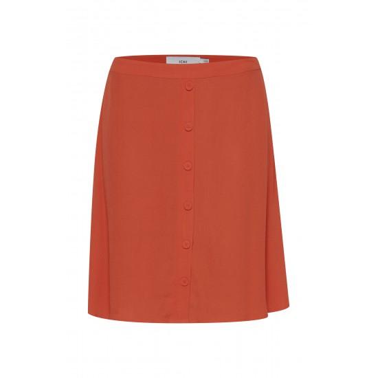 Ichi - Jupe orange taille haute