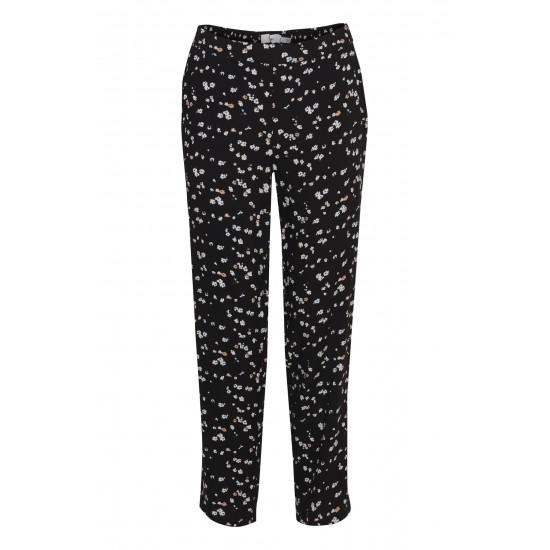 Ichi - Pantalon noir à fleurs
