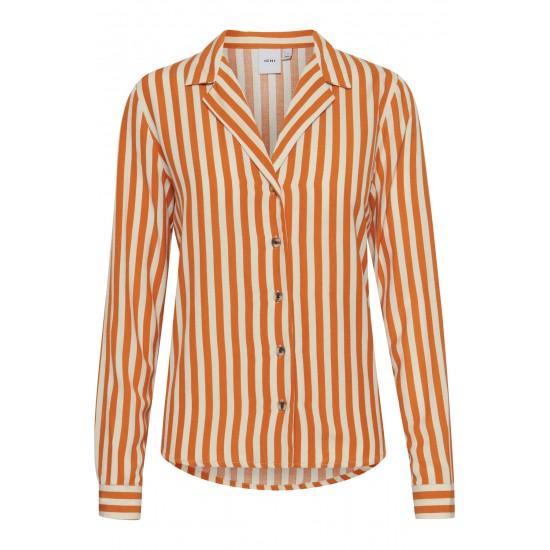 Ichi - Chemise rayée orange et blanche