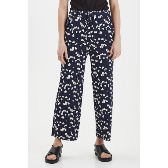 Ichi - Pantalon marine imprimé fleuri