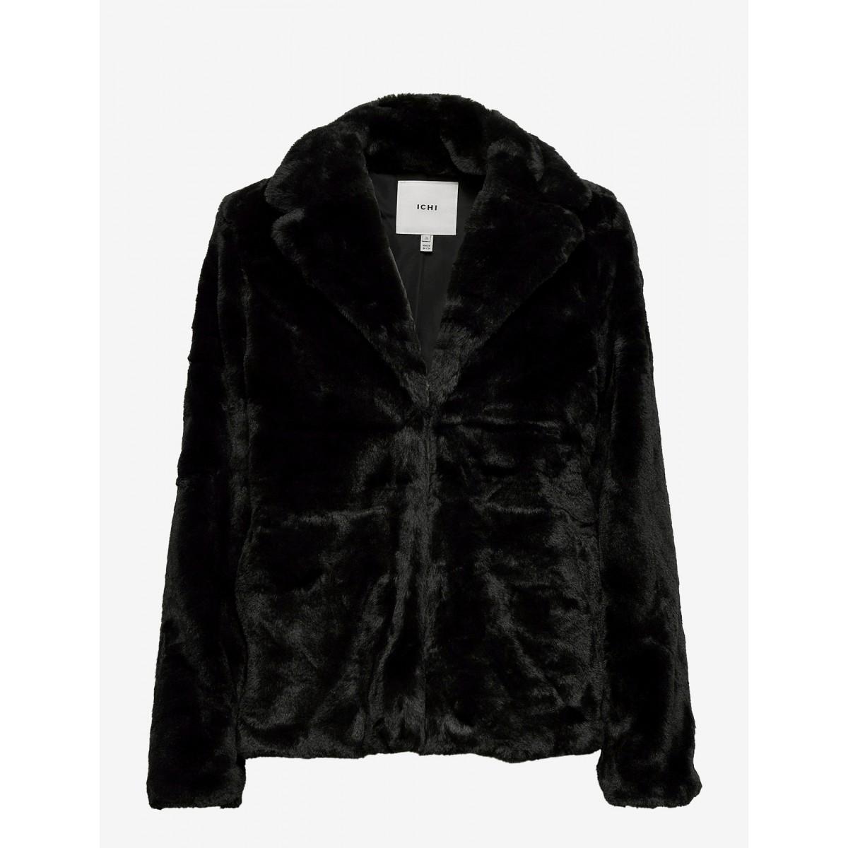 Ichi - Manteau fourrure noire