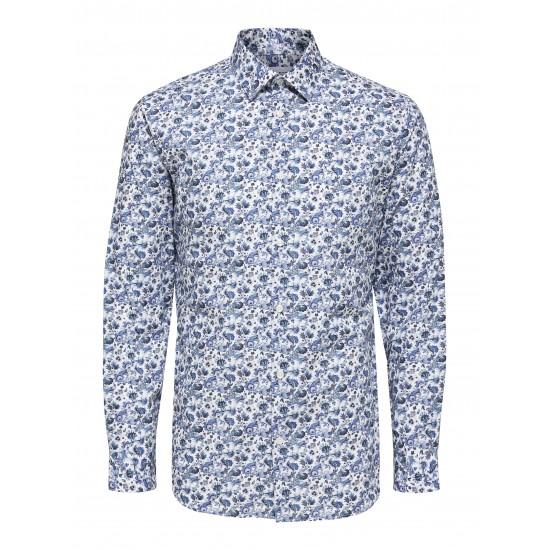 Selected homme - Chemise blanche imprimé fleurs bleues