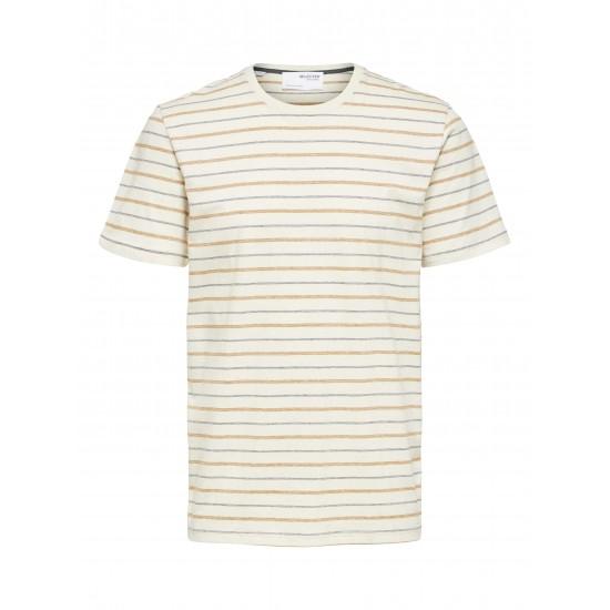 Selected homme - T-shirt écru à rayures