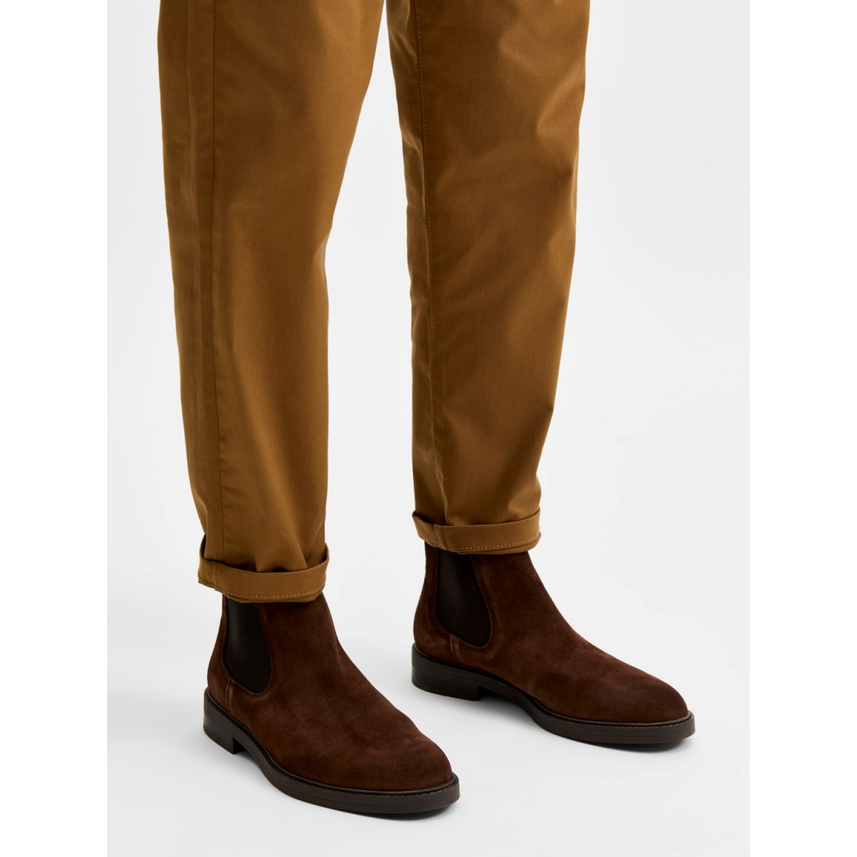 Selected - Boots en daim chocolat pour homme