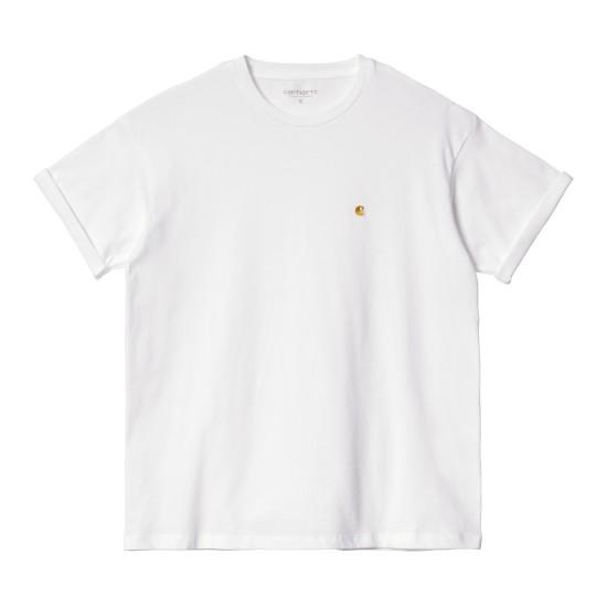 Carhartt WIP - Tshirt femme blanc à logo doré