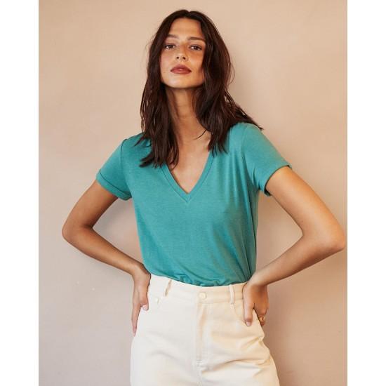 Grace et Mila - T-shirt femme vert col V