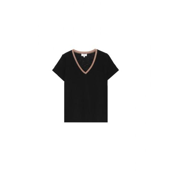 Grace et Mila - T-shirt femme noir col V lurex