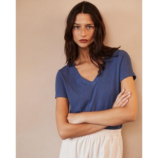 Grace et Mila - T-shirt femme bleu col V lurex