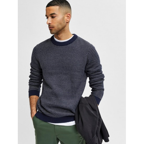 Selected homme - Pull marine et blanc pour homme