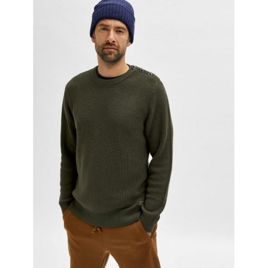 Selected homme - Pull vert kaki pour homme