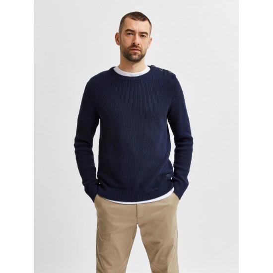 Selected homme - Pull uni bleu marine pour homme