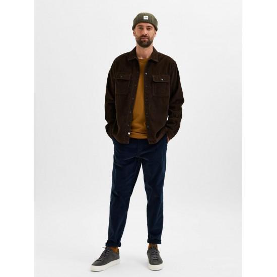 Selected homme - Pantalon en velours bleu marine slim