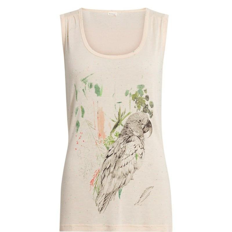 Nümph - T-shirt debardeur rose avec motif perroquet. Loading zoom 37fc034b5044