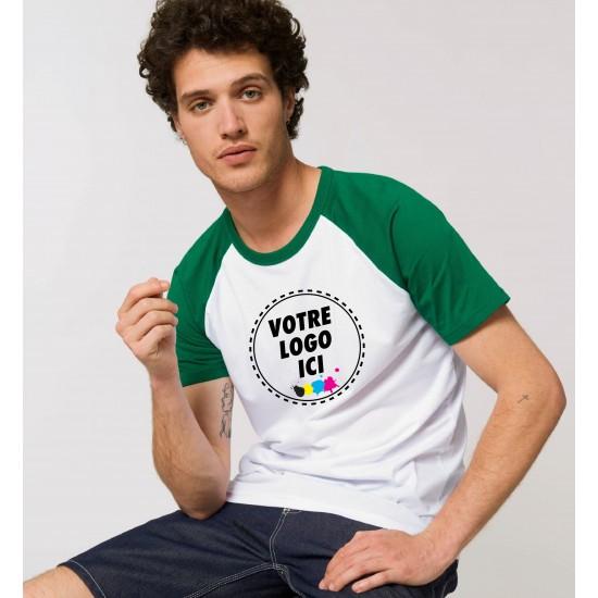 Marcel et Maurice - T-shirt adulte contrasté vert et blanc