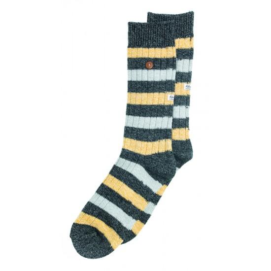Alfredo Gonzales - Chaussettes en laine à rayures noires, jaunes et grises