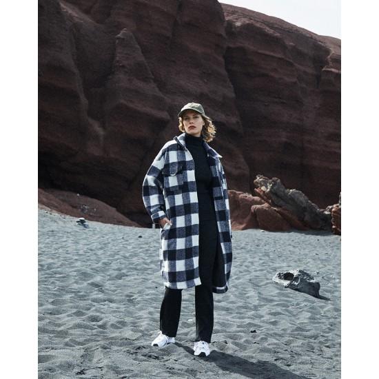 Grace et Mila - Manteau en laine à carreaux marine