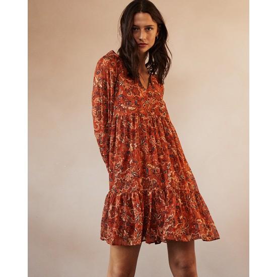 Grace et Mila - Robe fluide courte orange à motifs