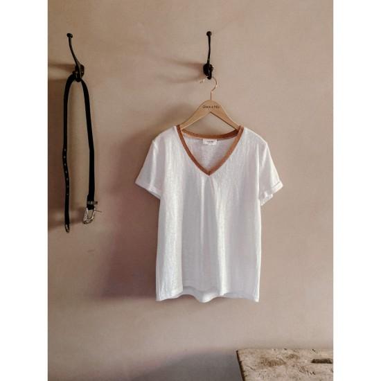 Grace et Mila - T-shirt femme écru avec col en lurex
