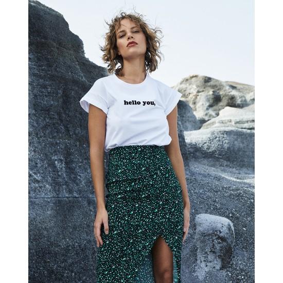 Grace et Mila - T-shirt femme blanc flocage velours noir