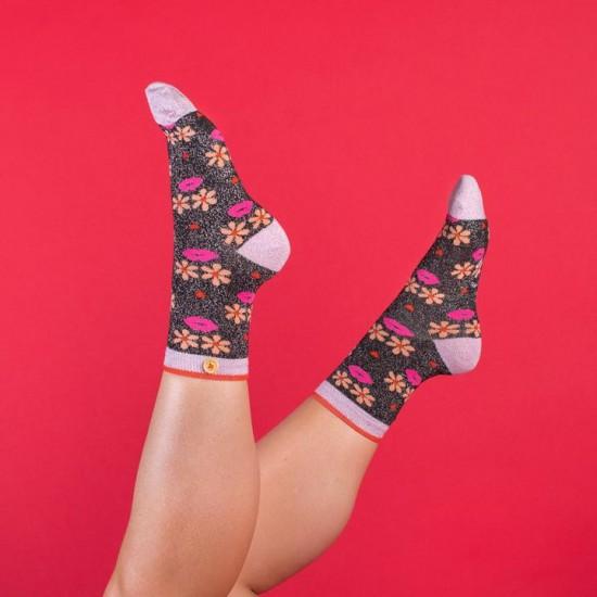 Cabaia - Chaussettes femme visage en fleurs