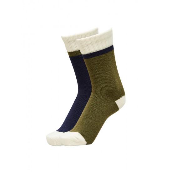 Selected - Pack de chaussettes en laine marine et kaki