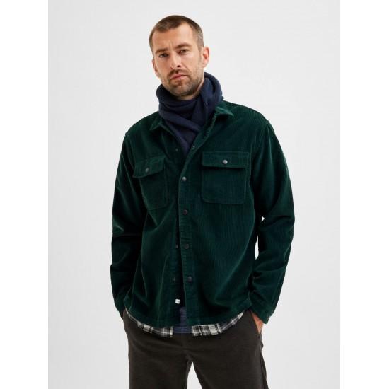 Selected homme - Surchemise en velours côtelé vert