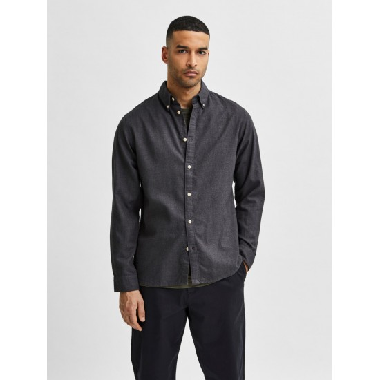 Selected homme - Chemise en flanelle unie anthracite