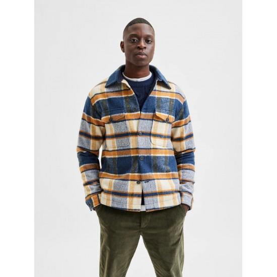 Selected - Manteau en laine à carreaux bleu, ocre et écru