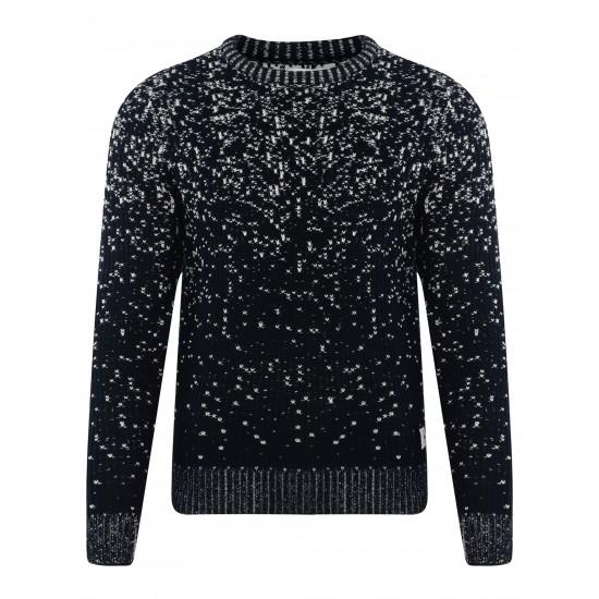 Bellfield - Pull en laine noir moucheté
