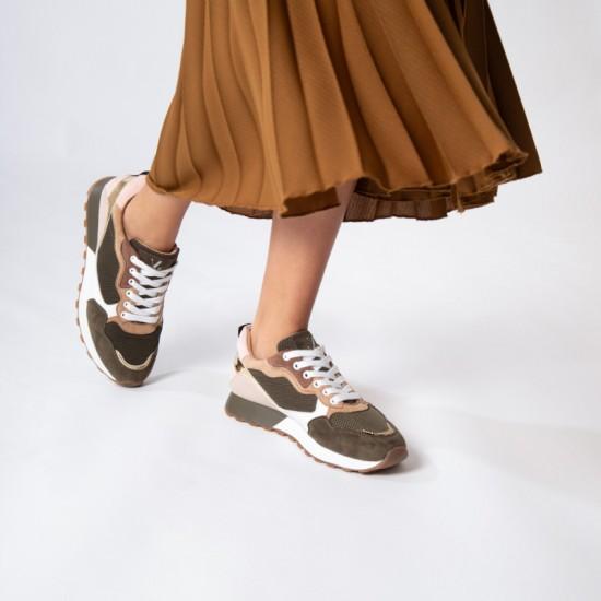 Vanessa Wu - Baskets kaki et beige à découpes