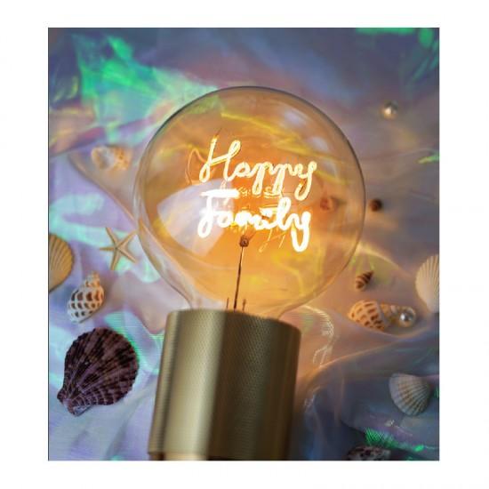 """MITB - Grosse ampoule LED à message """"Happy Family"""" ambre"""