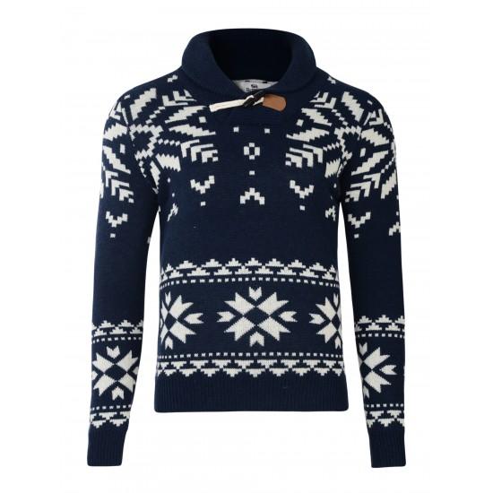 Bellfield - Pull en laine bleu marine à motifs flocons