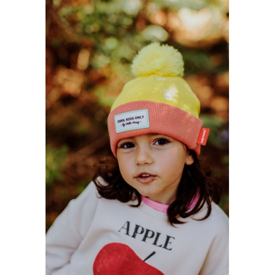 Hello Hossy - Bonnet Enfant à pompon jaune