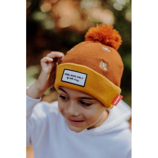 Hello Hossy - Bonnet Enfant à pompon marron