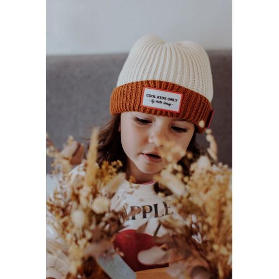 Hello Hossy - Bonnet Enfant à revers crème et chocolat