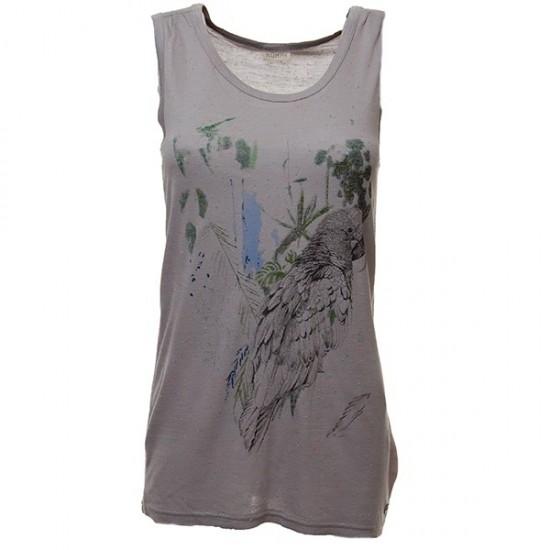 Nümph - T-shirt debardeur gris avec motif perroquet