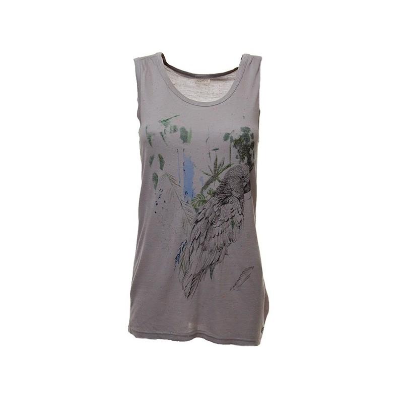 Nümph - T-shirt debardeur gris avec motif perroquet. Loading zoom 145cac92c8a1