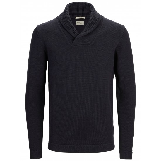 Selected - Pull col châle bleu marine