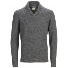 Selected - Pull  col châle gris chiné