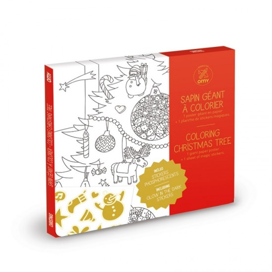 Omy - Grand poster à colorier Sapin de Noël