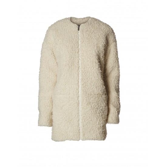 Minimum - Manteau femme style mouton blanc