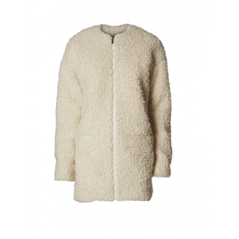minimum manteau mouton blanc pour femme. Black Bedroom Furniture Sets. Home Design Ideas