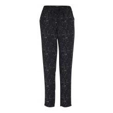 Ichi - Pantalon fluide noir à motifs.